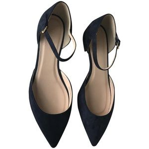 NWOT J. Crew Navy Blue Suede Pointed Flats